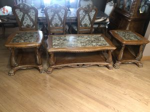 Oak Wood Coffee ☕️ Table Set/w Granite on Top for Sale in Bedford Park, IL