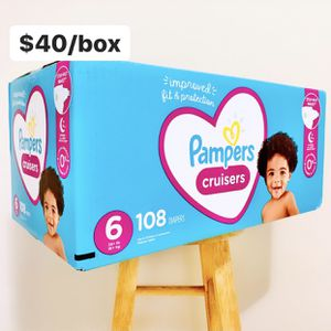 Size 6 (35 lbs+) Pampers Cruisers (108 baby diapers) *PROMO* BUY ANY 2 PAMPERS BRAND BOXES, GET 1 FREE HUGGIES TUB 64ct for Sale in Anaheim, CA