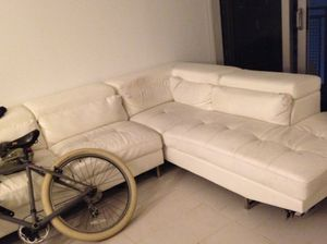 FREE! White leather sectional sofa - FREE - must be picked up today! for Sale in Miami, FL