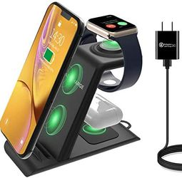 HATALKIN 3 in 1 wireless charging station compatible with Apple Watch SE products 6 5 4 3 2 AirPods Pro / 2 iPhone 12/11 / Pro Max / X / XS / XR / 8 P for Sale in Los Angeles,  CA