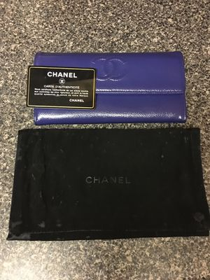 Chanel Blue Patent Caviar CC Large Gusset Flap Wallet for Sale in Arlington, VA
