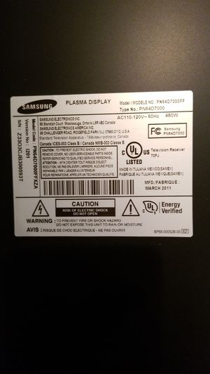 "64"" Samsung Plasma TV needs work for Sale in Murrieta, CA"