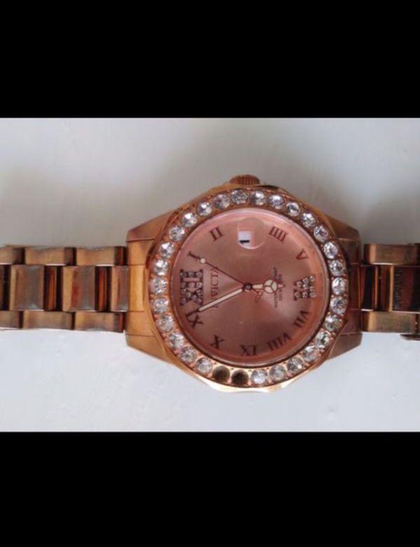 Antique rose gold diamond watch