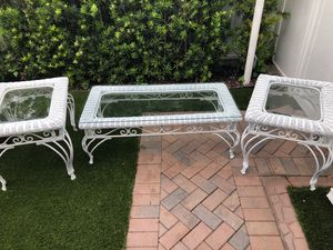 Wicker set and Wrought iron Center table and two end tables for Sale in Miami, FL