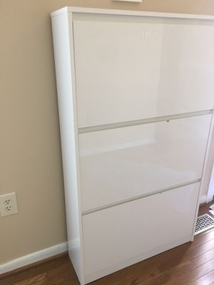 White high gloss shoe cabinet for Sale in Glen Allen, VA