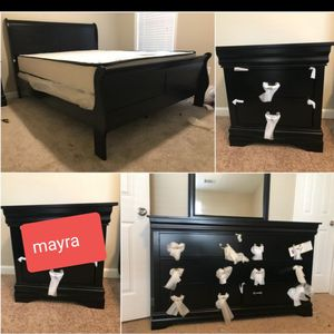 [[SPECIAL]] Black bedroom set... dresser mirror nightstand bed frame queen full twin]]] brand new... delivery available.. king size available for Sale in Katy, TX