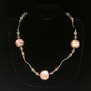 14K Beaded Fine Crystal Pink Candy Glass Necklace for Sale in Kent, WA