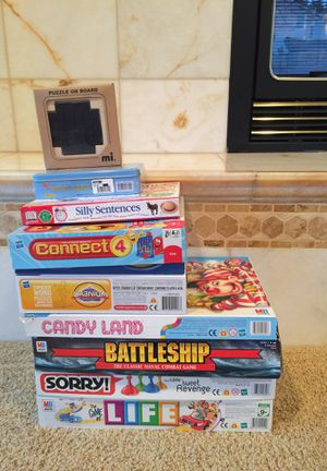 Board Games: Life, Sorry, Battleship, Candy Land, Cranium, Connect 4, Silly Sentences, Brain Quest, Puzzle On Board for Sale in Federal Way, WA