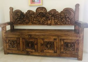Antique Mexican Hand-carved Wood Bench w Cabinets for Sale in Phoenix, AZ