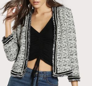 New Ivory Black Pearl Fringe Tweed Jacket for Sale in Harwood Heights, IL