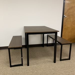 Modern Dining Table Set with 2 Benches, 3-Piece Set, Brown. for Sale in Duluth, GA