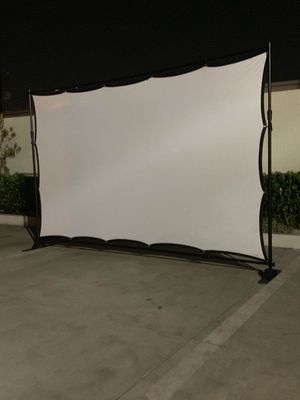 NEW 120 Inch Wrinkle Free Indoor Outdoor Projector Screen with 10x8 Feet Telescopic Banner Stand and Carrying Bag for Sale in West Covina, CA