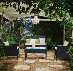 4 Piece Outdoor Patio Wicker Furniture Set Loveseat Sofa Cushioned Garden Yard Outdoor Living Space for Sale in Naperville, IL