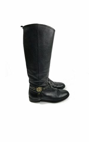 TORY BURCH TALL BLACK PEBBLE LEATHER RIDING EQUESTRIAN BOOTS SIZE 7.5. Condition is Pre-owned. See pictures ask questions and make an offer! for Sale in Queens, NY