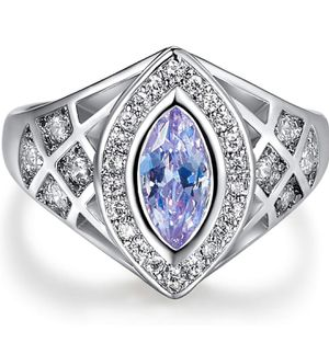 925 Sterling Silver Marquise Cut Created Tourmaline Filled Ring for Sale in Wichita, KS
