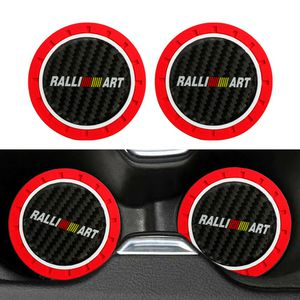 BRAND NEW 2PCS RALLIART RED RUBBER CUP MAT WITH REAL CARBON FIBER EMBLEM for Sale in City of Industry, CA