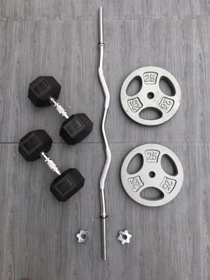 Weights 30lb Dumbbells/CurlBar 2x25lb Plates for Sale in Riverside, CA