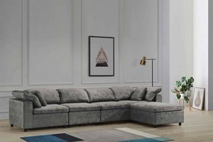 Lima Cloudy Grey Fabric Sectional Sofa with Ottoman!!! Layaway and Financing Available!!! for Sale in Tampa, FL