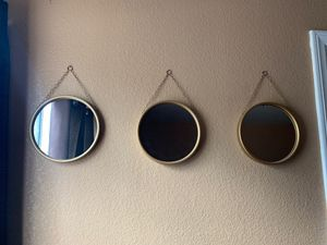 Set of 3 Gold wall hanging mirrors for Sale in Jurupa Valley, CA