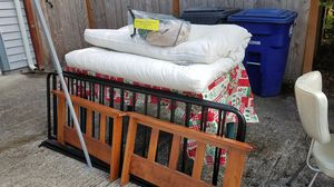 Mission Style Futon Mattress & Frame + 2 new covers for Sale in Steilacoom, WA