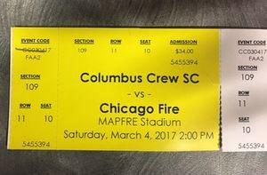 Crew SC vs Chicago Fire SATURDAY $25 for Sale in Columbus, OH