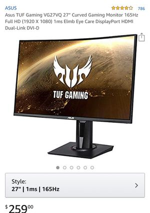 Asus Curved Monitor 27 Inch for Sale in Clifton, NJ