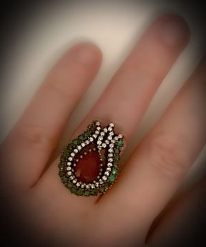 RED RUBY EMERALD FINE ART RING Size 7 Solid 925 Sterling Silver/Gold WOW! Brilliant Facet Pear/Round Cut Gemstones, Diamond Topaz M1966 V for Sale in San Diego, CA