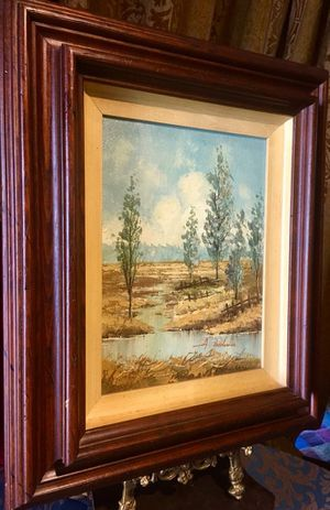 Original framed vintage oil painting signed A. Bodoulac; H19xW16 inch for Sale in Chandler, AZ