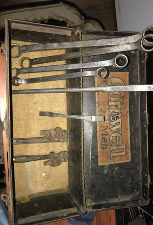 Very rare Cornwell toolbox and tools along with some pipe wrenches for Sale in Columbus, OH