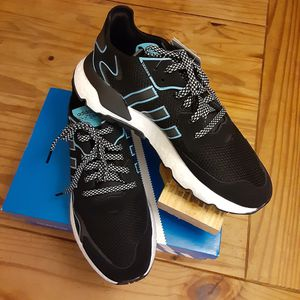 NEW Adidas Nite Jogger Core Black/Cyan Mens 10/Womens 12 for Sale in Pinellas Park, FL