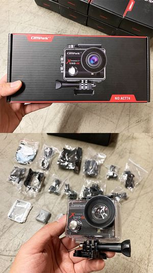 New $40 Campark ACT74 Action Camera 16MP 4K Wide Angle (2pc Rechargeable Battery, Mounting Kit) for Sale in South El Monte, CA