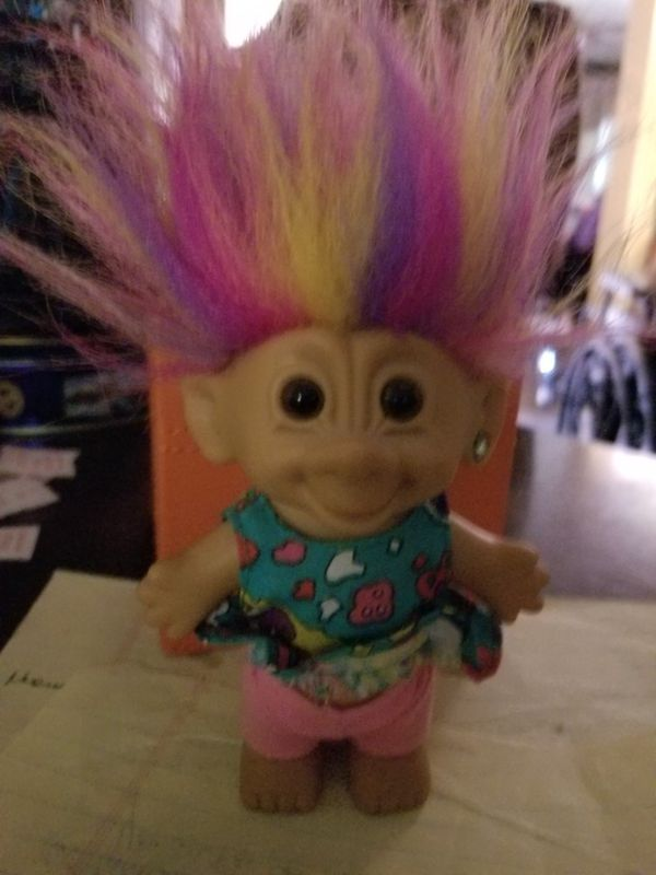 90's Rainbow-Haired Troll Doll with Ear pierced