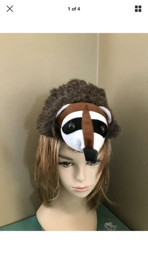 Furry Raccoon Faux Coonskin Cap Animal Costume Hat w/ Head & Tail Novelty OS for Sale for sale  Portland, OR