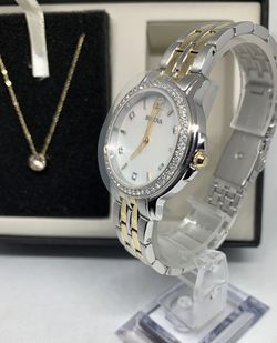 Bulova Two-Tone Stainless Steel Ladies Watch and Crystal Stud Necklace Set for Sale in Allentown,  PA