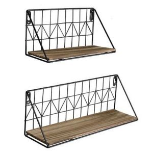 Set of2 Wall Stand Floating Hang Shelves Rustic Wood Storage Metal Wire Bedroom for Sale in Irvine, CA