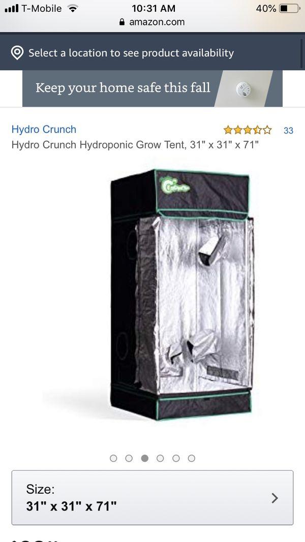 Hydrocrunch grow tent 31x31x72in