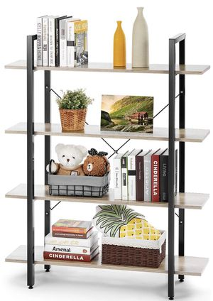 Wood Bookshelf 4 Tier 41Wx12Dx55H inches Bookcase Solid Industrial Wood Bookshelf, Sturdy Bookshelves w/ Steel Frame Storage Organizer Woo for Sale in Ontario, CA