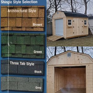 New 10' x 12' x 7' Pine Gambrel Shed with 7' Rollup Garage Door for Sale in East Bridgewater, MA