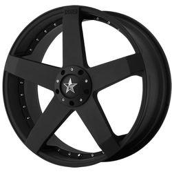 "Rockstar rims KMC Wheels Rockstar Car Gloss Black Wheel (17x7.5""/5x100, 114.3mm, +42mm offset) for Sale in Clackamas,  OR"