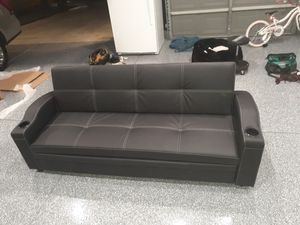 Sofa Futon w/pull out Bed & Cupholders(faux leather) for Sale in Riverside, CA