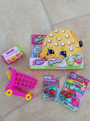 Shopkins Color N Create Pillow, Matching Game, Shopping Cart, Play Pack, and Candy Dispenser (Read Description) for Sale in Phoenix, AZ