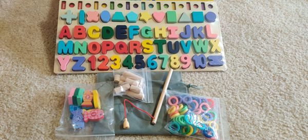 Wooden Number Alphabet Puzzles Shape Sorting Counting Montessori Learning Toys for Toddlers, Fishing Game