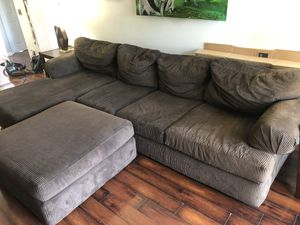 Brown Sectional Couch and end tables with lamps for Sale in San Diego, CA