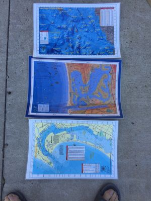 Salt water maps of San Diego Bay, Mission Bay, and SAN Diego Offshore Banks with GPS COORDINATES. Laminated in plastic. for Sale in Poway, CA