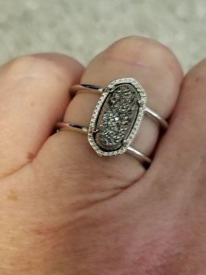 Kendra Scott Silver and Platinum Drusy Ring Size 7 for Sale in Abilene, TX