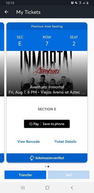 AVENTURA: INMORTAL AUG 7 VIEJAS ARENA for Sale in Santee, CA
