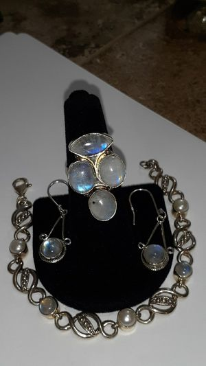 Nicky Butler bracelets with Moonstone ring size 8 and earrings all solid 925 for Sale in Mesa, AZ