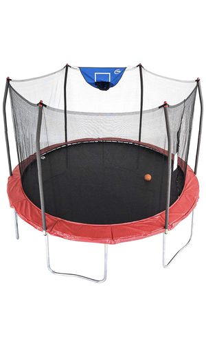 Skywalker 12' trampoline with basketball hoop and safety enclosure for Sale in San Diego, CA