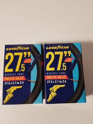 "Goodyear 27.5"" bicycle tube 2.1 to 2.4 presta valve set of 2 boxes new for Sale in Clinton, IA"