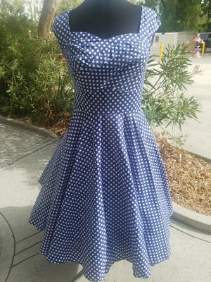 Pin Up Inspired Blue with White Polk a Dots Swing Dress for Sale in West Covina, CA